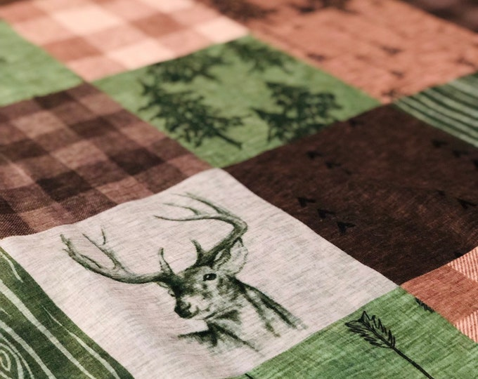 "FREE NAME EMBROIDERY-""Rustic Buck"" Minky Blankets & Bedding"