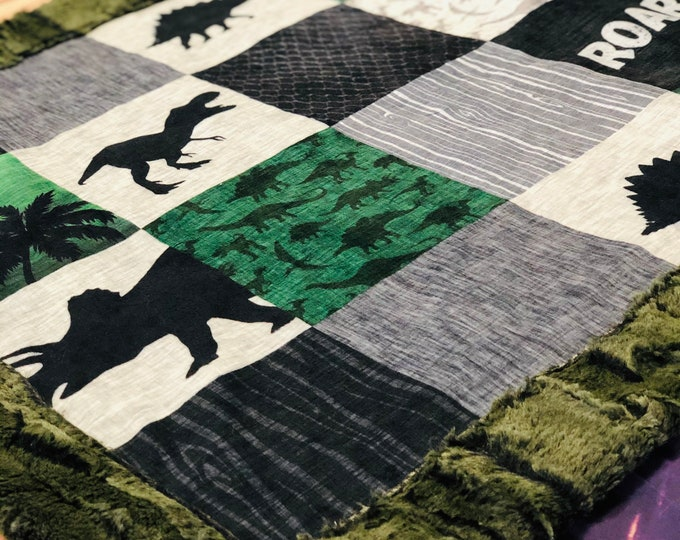 "FREE NAME EMBROIDERY-""Dinosaur"" Minky Blankets & Bedding"