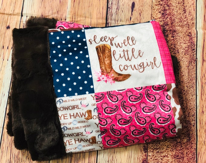 """FREE NAME EMBROIDERY-""""Cowgirl"""" Minky Blankets & Bedding"""