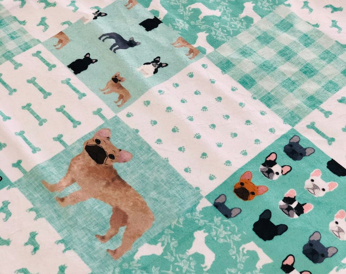 """FREE NAME EMBROIDERY-""""French Bulldog"""" Minky Blankets & Bedding"""