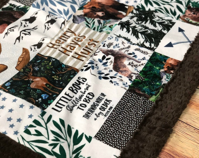 """FREE NAME EMBROIDERY-Peter Pan Quote"""" Minky Blankets & Bedding"""