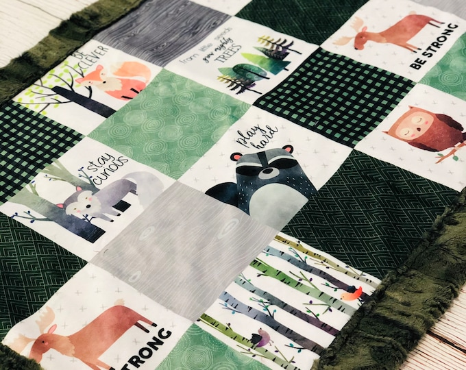 """FREE NAME EMBROIDERY-""""Woodlands"""" Minky Blanket & Bedding"""