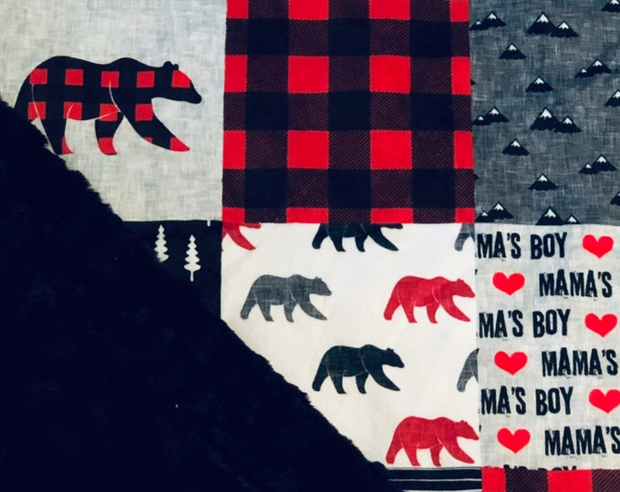 """FREE NAME EMBROIDERY-""""Mamas Boy"""" Minky Blankets & Bedding"""