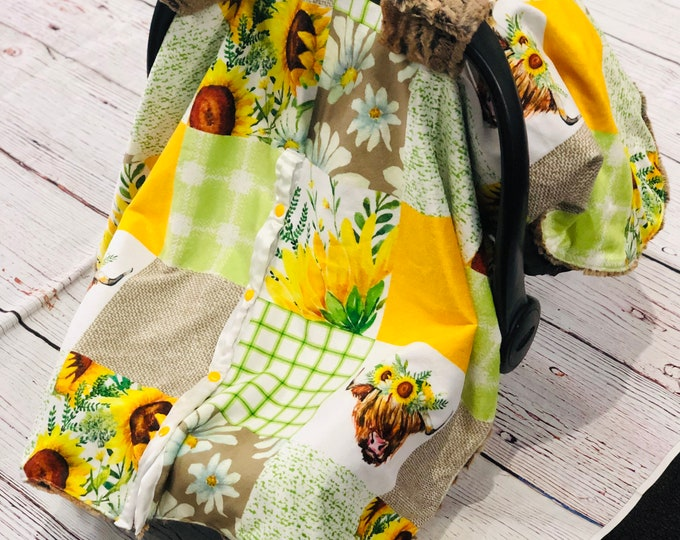 Sunflower Highland Cow Car Seat Canopy Covers
