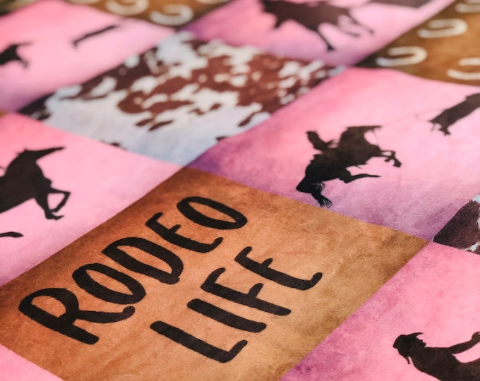 """FREE NAME EMBROIDERY-""""Rodeo Life"""" Girl Minky Blankets & Bedding"""