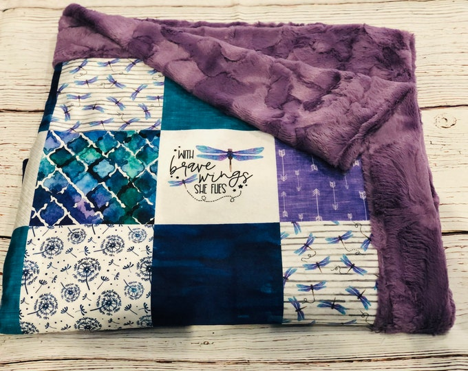 """FREE NAME EMBROIDERY-""""Dragonfly"""" Minky Blankets & Bedding"""