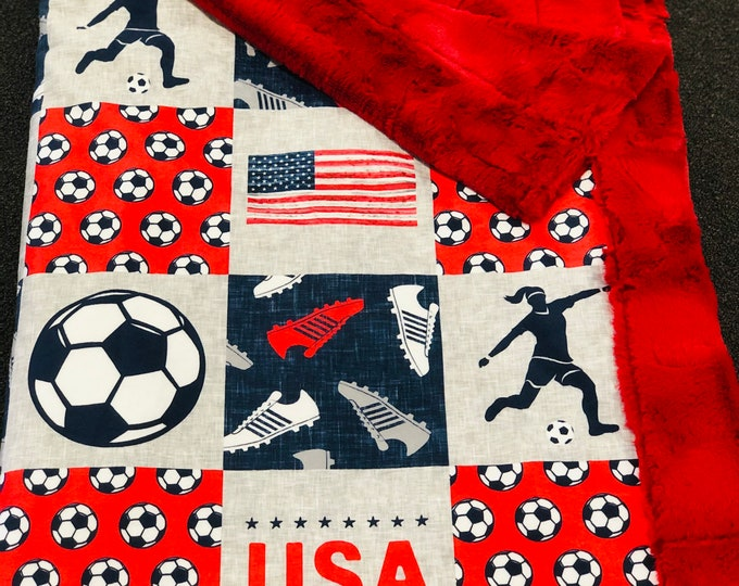 """FREE NAME EMBROIDERY-""""Soccer"""" Girl Minky Blankets & Bedding"""