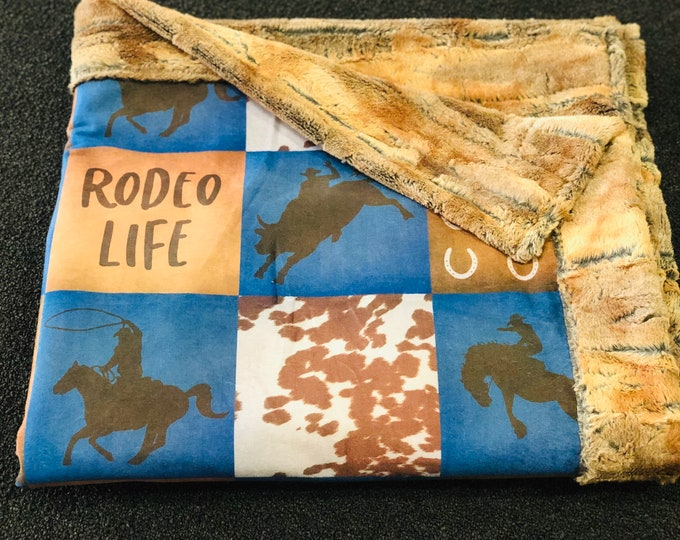 Rodeo Life (Boy Version) Minky Blankets & Bedding (FREE NAME EMBROIDERY)