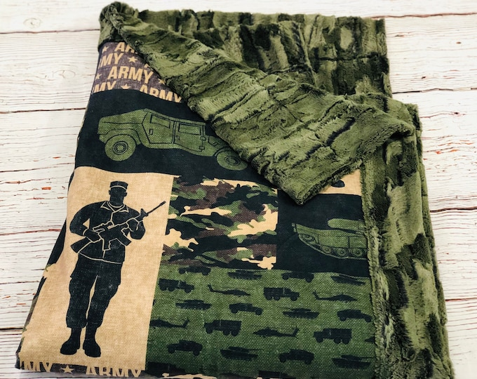 Army Soldier Minky Blankets & Bedding (+ FREE NAME EMBROIDERY)