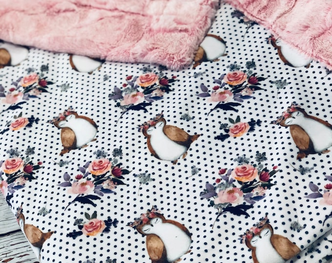 """FREE NAME EMBROIDERY-""""Owls"""" Minky Blankets & Bedding"""