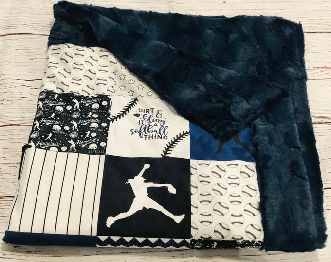 "FREE NAME EMBROIDERY-""Softball"" Minky Blankets & Bedding"