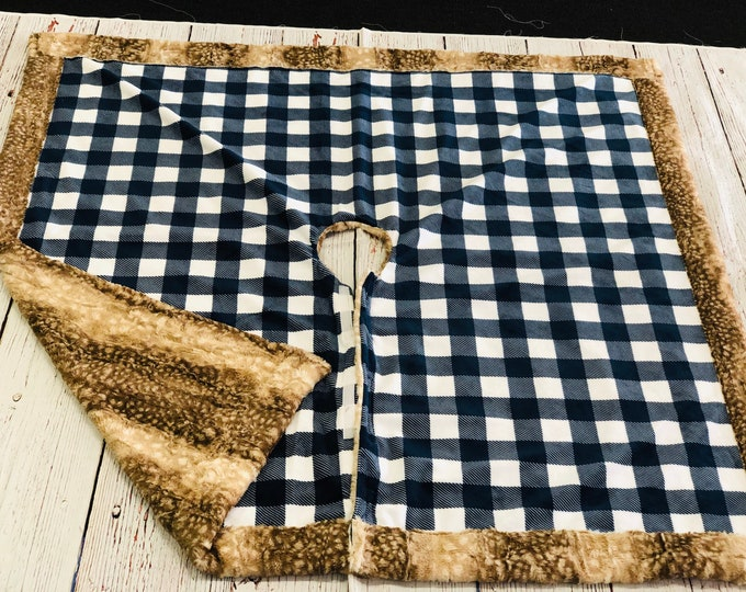 Plaid And Fawn Modern Tree Skirt (+ FREE NAME EMBROIDERY)