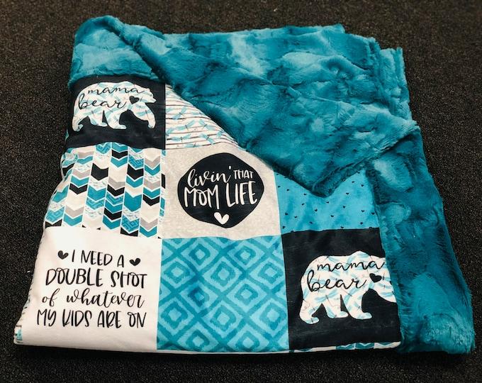 "FREE NAME EMBROIDERY-""Mom Life"" Minky Blankets"