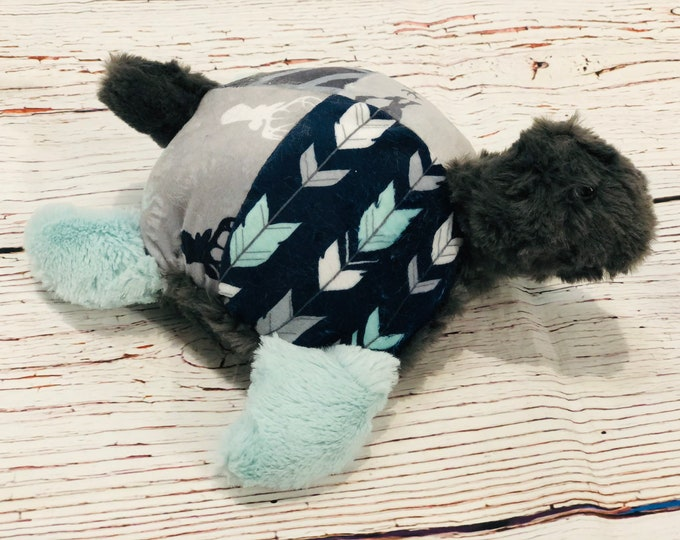 """FREE NAME EMBROIDERY-""""Rustic Themed Minky Turtle Stuffie"""