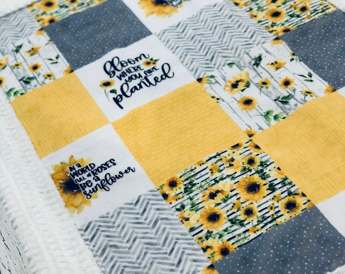 """FREE NAME EMBROIDERY-""""Sunflowers"""" Minky Blankets & Bedding"""