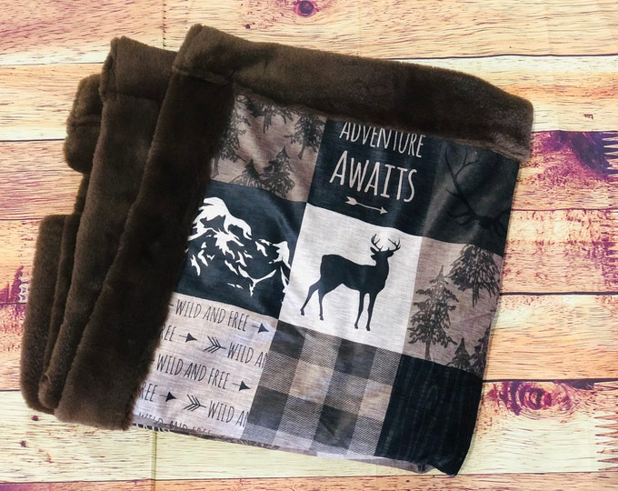 Adventure Awaits Minky Blankets & Bedding (+ FREE NAME EMBROIDERY)