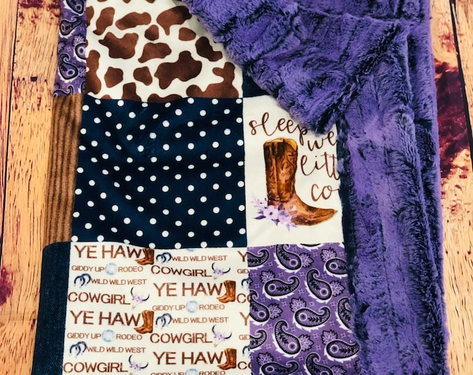 """FREE NAME EMBROIDERY-""""Sleep Well, Little Cowgirl"""" Minky Blankets & Bedding"""
