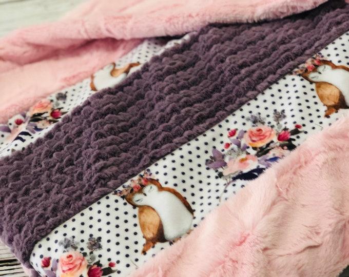 Beautiful Owls Minky Strip Blanket