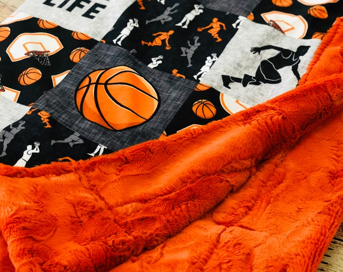 """FREE NAME EMBROIDERY-""""Basketball"""" Minky Blankets & Bedding"""