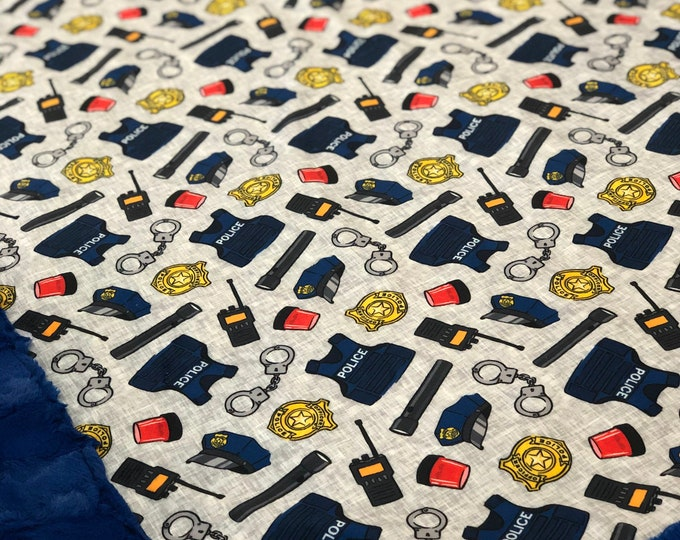 """FREE NAME EMBROIDERY-""""Police Gear"""" Minky Blankets & Bedding"""