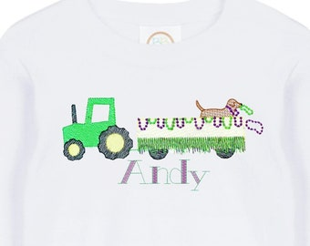 b9dd357a7 Mardi Gras Shirt for Kids - Mardi Gras Parade - Tractor Parade - Mardi Gras  for Toddler - Embroidery - Monogram - Dogs Mardi Gras