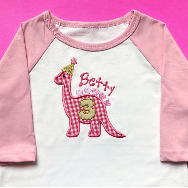 Dinosaur Birthday Shirt Kids Embroidered