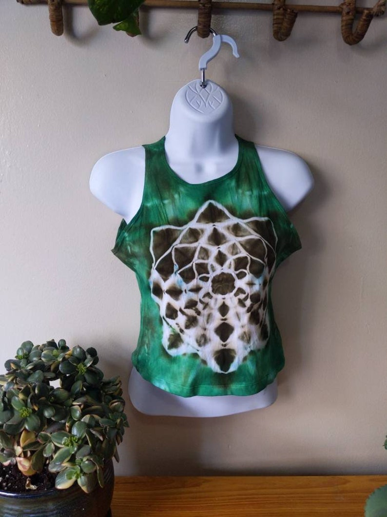 XL Mandala Tie Dye Crop Top Forest Green