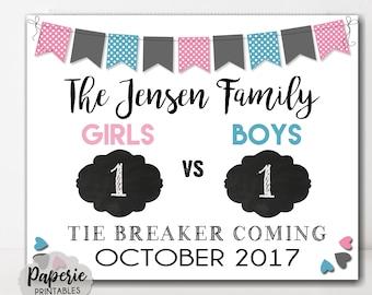 Tie Breaker Pregnancy Announcement Sign – New Baby Pregnancy Reveal – Photo Prop – Printable – Baby Reveal - Pregnancy Reveal Sign
