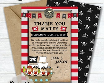 Blue Stripes Pirate Scroll Party Thank You Cards