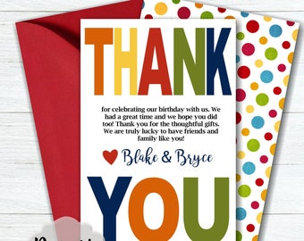 Joint Birthday Thank You Card