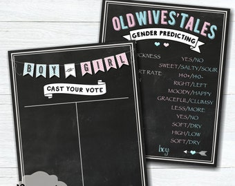 Cast Your Vote Gender Reveal Party Sign – Old Wives' Tales Gender Reveal Sign – Gender Predicting – Printable – Baby Predicting-Blue & Pink-
