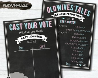 Cast Your Vote Gender Reveal Party Sign – Old Wives' Tales Gender Reveal Sign – Gender Predicting – Baby Reveal - Blue & Pink -