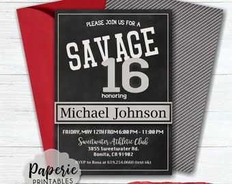 Savage 16 Birthday Party Invitation