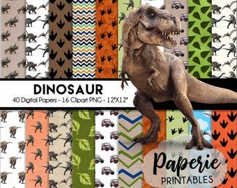 Dinosaur Digital Paper - 12x12 Digital Scrapbooking Paper - 40 Papers & 16 Clipart - Dinosaur Scrapbook Paper-Instant Download-