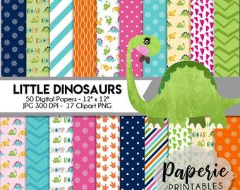 Little Dinosaurs Digital Paper - 12x12 Digital Scrapbooking Paper - 50 Papers & 17 Clipart - Dinosaur Scrapbook Paper-Instant Download-