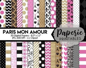 10 Paris Inspired Digital Watercolor papers Hand Painted Watercolor Scrapbook Papers.