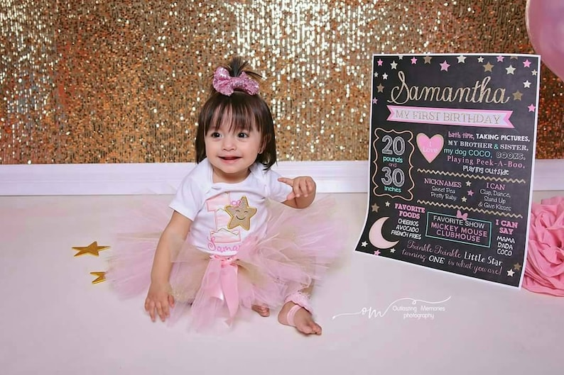 Twinkle Twinkle Little Star Birthday Milestone Chalkboard Poster Sign \u2013 Birthday Milestone Poster \u2013 Girl \u2013 Photo Prop \u2013 Printable \u2013 ANY AGE\u2013