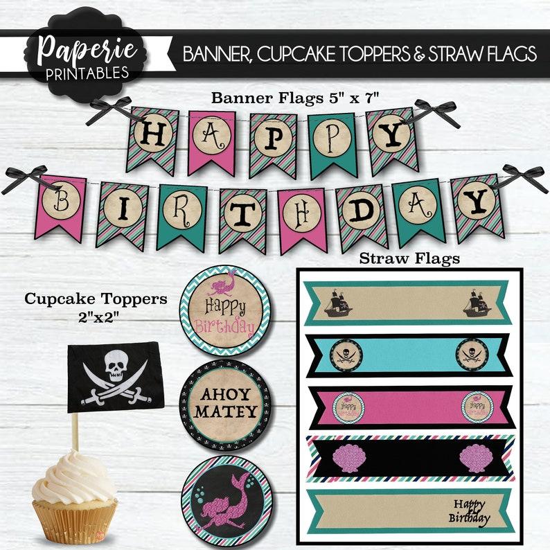 Pirate & Mermaid Birthday Party Bundle - Mermaid and Pirate Birthday  Invitation - Mermaid Birthday Party - Pirate Birthday Bundle Pack -