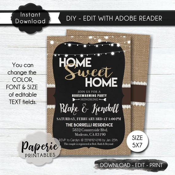 Housewarming Party Invitation Template Country Housewarming Etsy