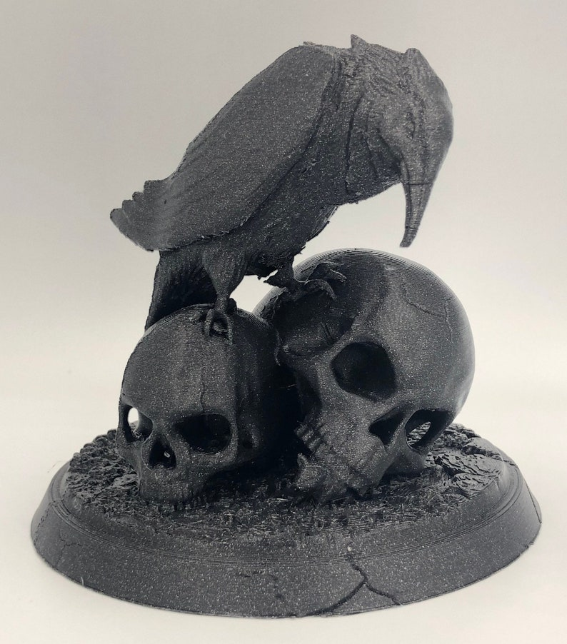 Nevermore  Raven and Skulls Statue for Edgar Alan Poe fans image 0