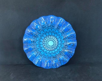 Catchall Trinket Tray Vintage Memphis Style Fused Glass Art Dish