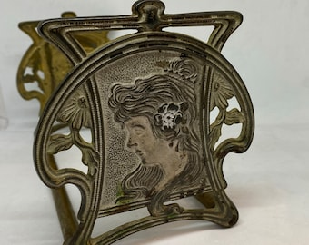 HL Judd NY Antique Art Nouveau Circa 1920's Brass telescoping bookends Woman with flower in flowing hair #9788