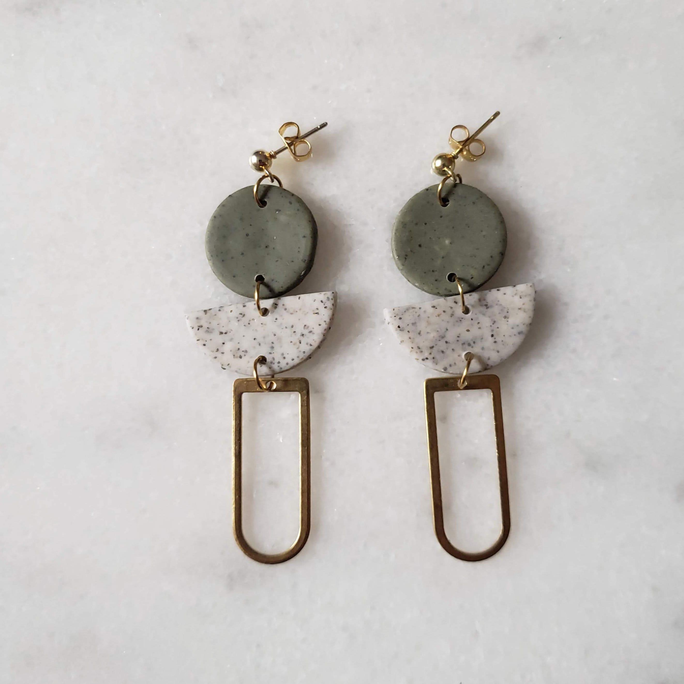 Handmade Clay Granite Design Earrings