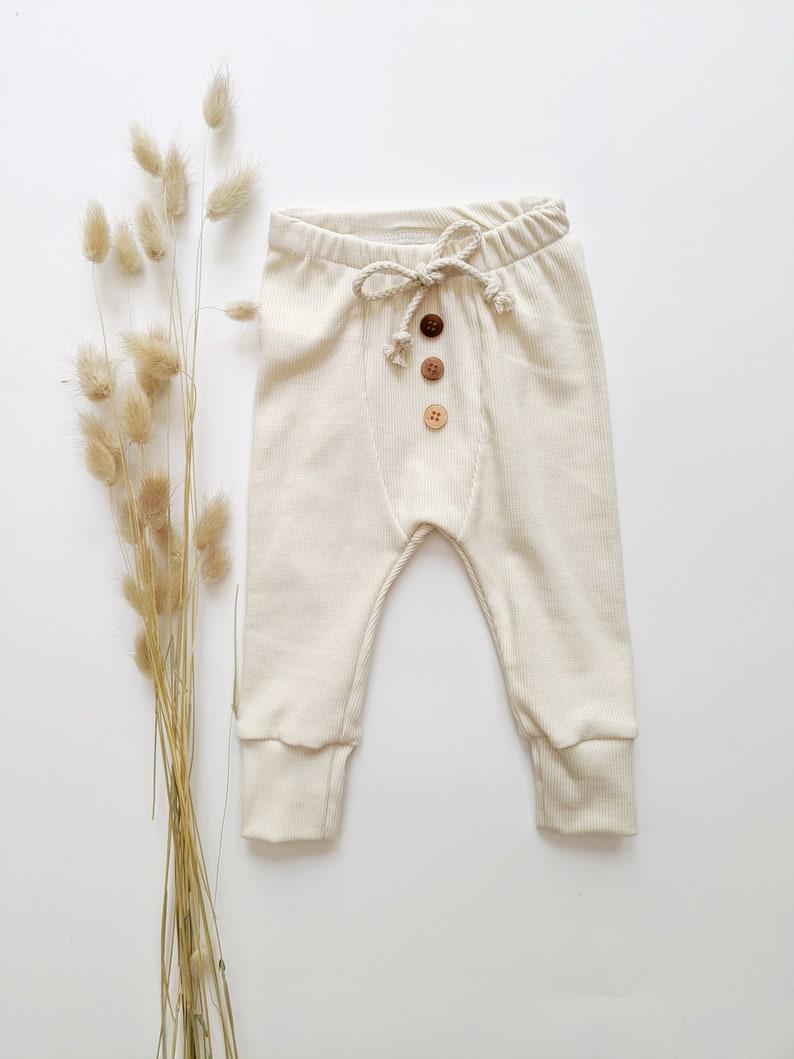 CreamWhite Gots Organic Cotton PantsToddler Baby LeggingsCream Baby PantsRibbed White Take-home Baby Organic Cotton Ribbed Leggings