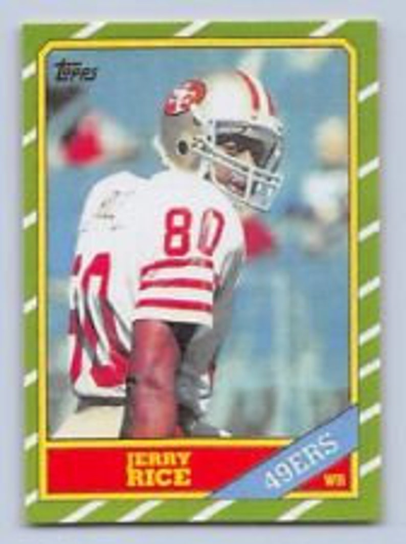 Jerry Rice 1986 Topps Reprint Rookie Card With Original Back San Francisco 49ers
