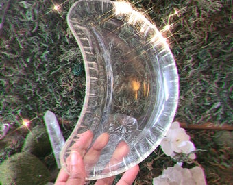 Vintage Crescent Moon or Leaf  Offering or Crystal Dish