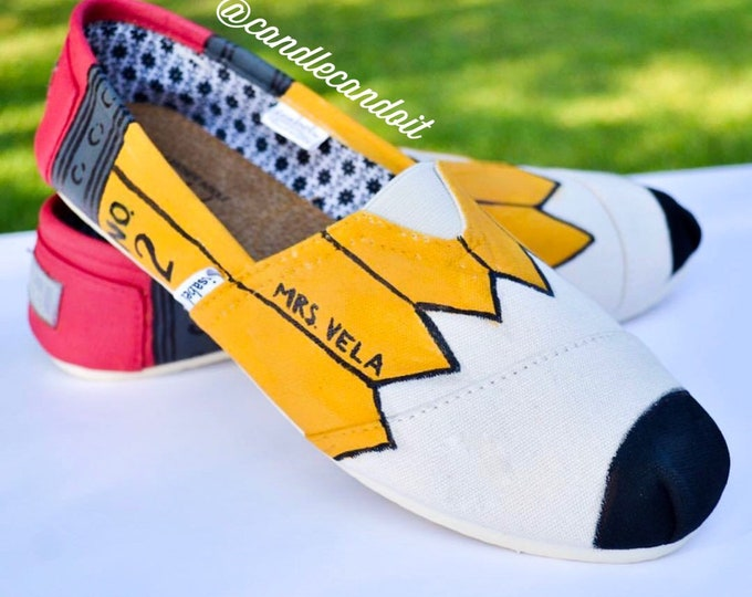 Toms Pencil Shoes w/ Custom Name