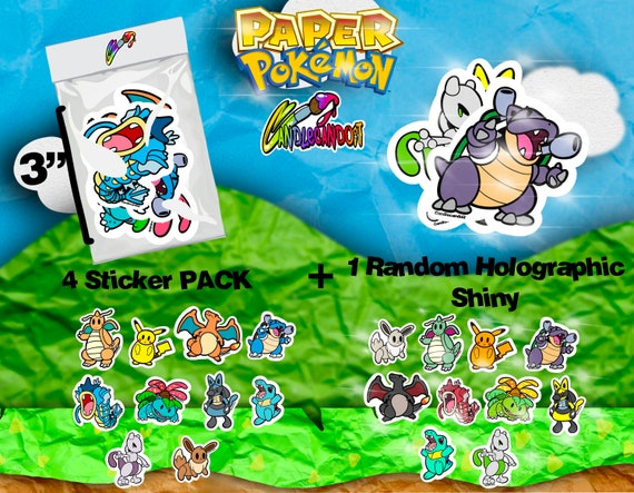 Paper Pokémon 4 Pack Stickers