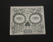 Sugar skull temporary face tattoo, day of the dead, Dia de los Muertos Face Mask Mardi Gras, sugar skull, face mask, face tattoo, face mask