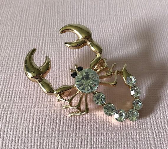 Rhinestone scorpion brooch, scorpion pin, gold sco